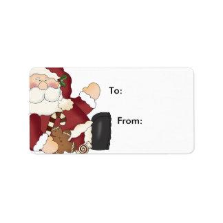 Etiquetas del regalo del navidad de Santa y de las Etiqueta De Dirección