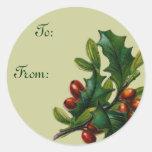 Etiquetas del regalo del navidad del acebo del vin