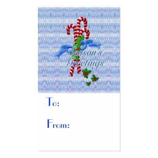 Etiquetas del regalo del navidad del bastón de tarjetas de visita