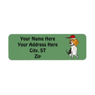 Etiquetas del regalo del navidad del beagle o etiqueta de remite