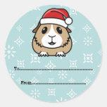 Etiquetas del regalo del navidad del conejillo de etiqueta redonda