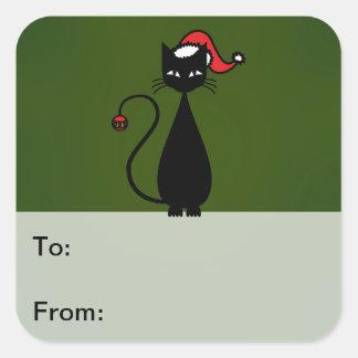 Etiquetas del regalo del navidad del gato negro pegatinas cuadradas personalizadas
