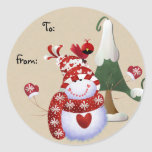 Etiquetas del regalo del navidad del muñeco de nie