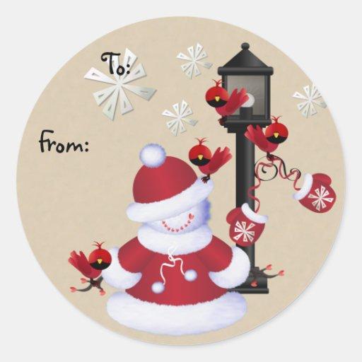 Etiquetas del regalo del navidad del muñeco de pegatina redonda