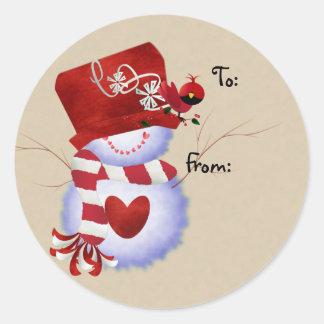 Etiquetas del regalo del navidad del muñeco de etiquetas redondas