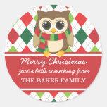 Etiquetas del regalo del navidad del pequeño búho pegatinas redondas