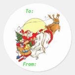 Etiquetas del regalo del navidad del trineo de etiquetas redondas