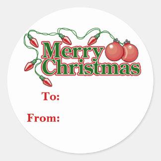 Etiquetas del regalo del navidad pegatina redonda