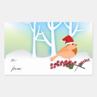 Etiquetas del regalo del pájaro del invierno pegatina rectangular