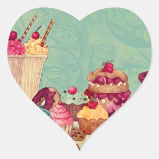 Etiquetas del regalo del Patisserie del helado de Pegatina En Forma De Corazón