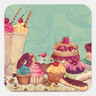 Etiquetas del regalo del Patisserie del helado de Pegatina Cuadrada