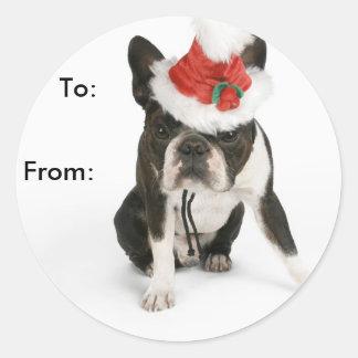 Etiquetas del regalo del perrito de Boston Terrier Pegatina Redonda