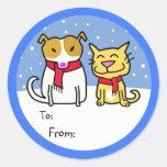 Etiquetas del regalo del perro y del gato pegatina redonda