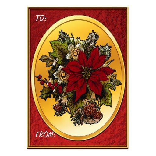 Etiquetas del regalo del Poinsettia del navidad Tarjeta Personal