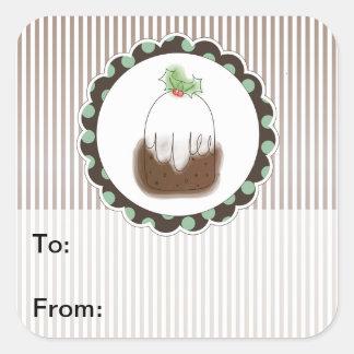 Etiquetas del regalo del pudín del navidad pegatina cuadrada
