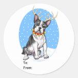Etiquetas del regalo del reno de Boston Terrier Etiqueta Redonda