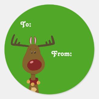 Etiquetas del regalo del reno pegatina redonda