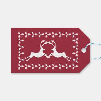 Etiquetas del regalo del reno y del muérdago etiquetas para regalos