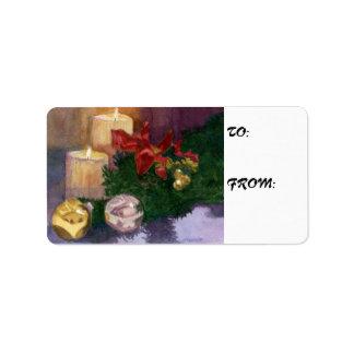 Etiquetas del regalo del resplandor del navidad etiquetas de dirección