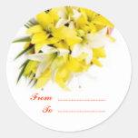 Etiquetas del regalo: Flor 1 Pegatina Redonda