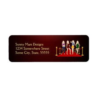 Etiquetas del remite de la alfombra roja de los etiquetas de remite