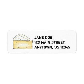 Etiquetas del remite de la cuña del queso del brie etiqueta de remitente