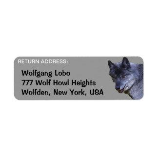 Etiquetas del remite de la fauna del LOBO GRIS Etiqueta De Remitente