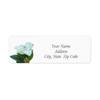 Etiquetas del remite de la flor de la magnolia etiqueta de remite