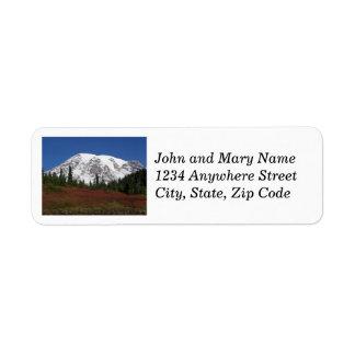 Etiquetas del remite de la foto del Monte Rainier Etiquetas De Remite