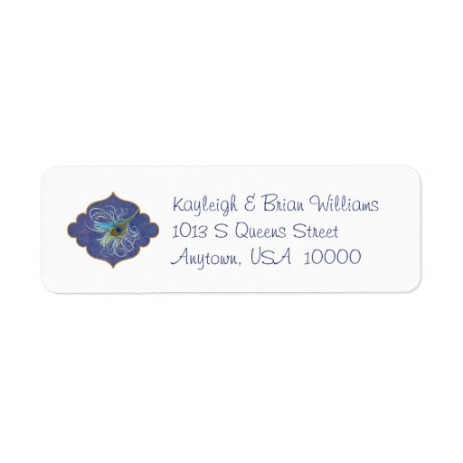 Etiquetas del remite de la gloria del pavo real etiqueta de remite