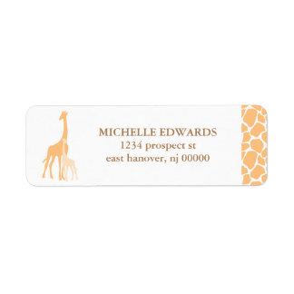 Etiquetas del remite de la jirafa de la mamá y del etiqueta de remite
