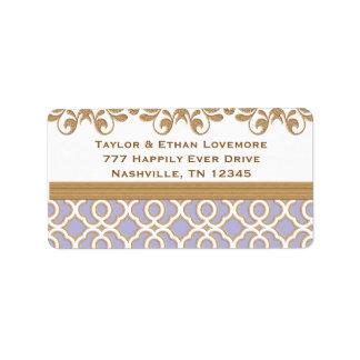 Etiquetas del remite de la lavanda y del oro de en etiquetas de dirección