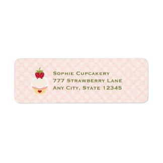 Etiquetas del remite de la magdalena de la fresa etiqueta de remite