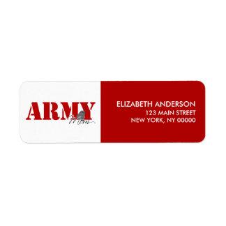 Etiquetas del remite de la mamá del ejército etiqueta de remitente