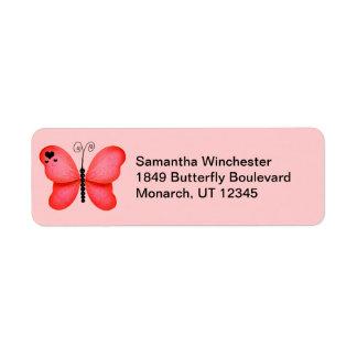 Etiquetas del remite de la mariposa etiqueta de remite