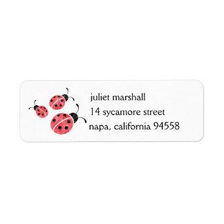 Etiquetas del remite de la mariquita de la etiqueta de remite