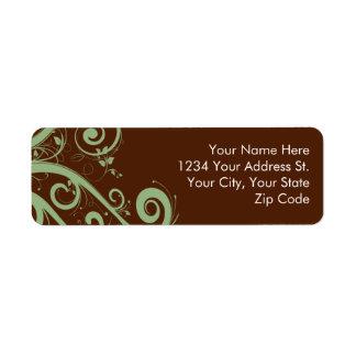 Etiquetas del remite de la menta del chocolate etiqueta de remitente