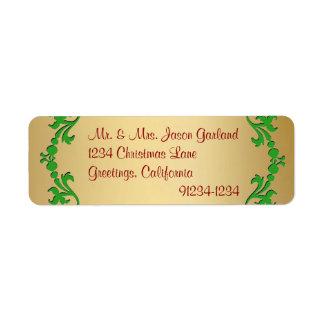 Etiquetas del remite de la mirada de la hoja de or etiqueta de remitente
