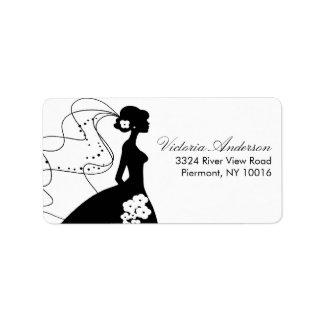 Etiquetas del remite de la novia de la silueta etiquetas de dirección