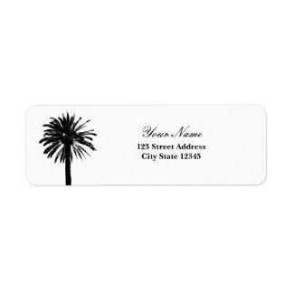 Etiquetas del remite de la palmera etiquetas de remite