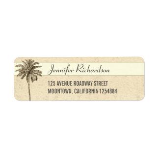 etiquetas del remite de la palmera de la playa etiquetas de remite