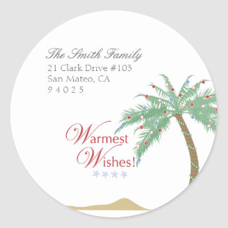 Etiquetas del remite de la palmera del navidad etiqueta redonda