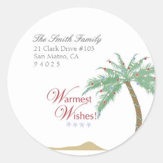 Etiquetas del remite de la palmera del navidad pegatina redonda