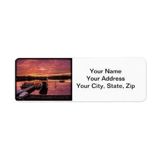 Etiquetas del remite de la puesta del sol del lago etiquetas de remite