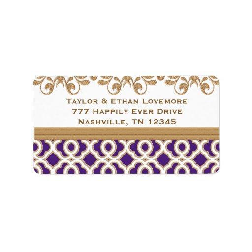 Etiquetas del remite de la púrpura y del oro etiqueta de dirección