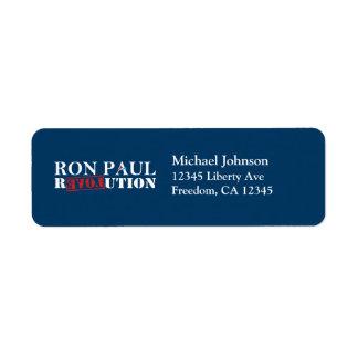 Etiquetas del remite de la revolución de Ron Paul  Etiqueta De Remite