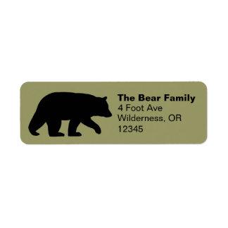 Etiquetas del remite de la silueta del oso negro etiqueta de remite