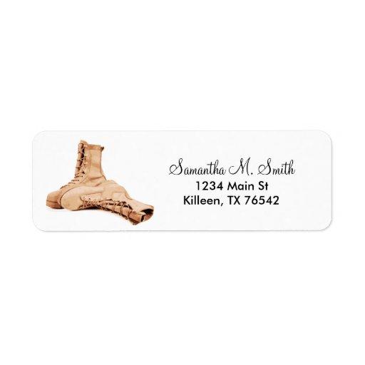 Etiquetas del remite de las botas de combate etiqueta de remite