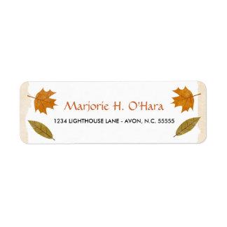 Etiquetas del remite de las hojas de otoño etiqueta de remite