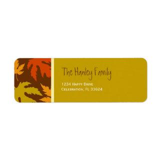 Etiquetas del remite de las hojas de otoño etiqueta de remitente